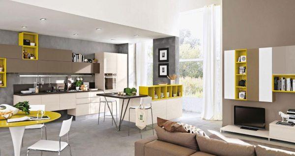 вставки салатового цвета в белый фон кухни