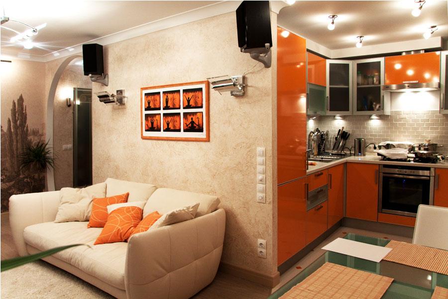 Интерьер кухня совмещенная с гостиной в хрущевке дизайн