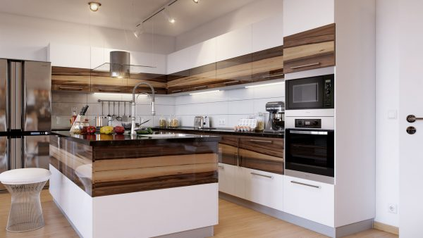 вставки под дерево в белом гарнитуре кухни