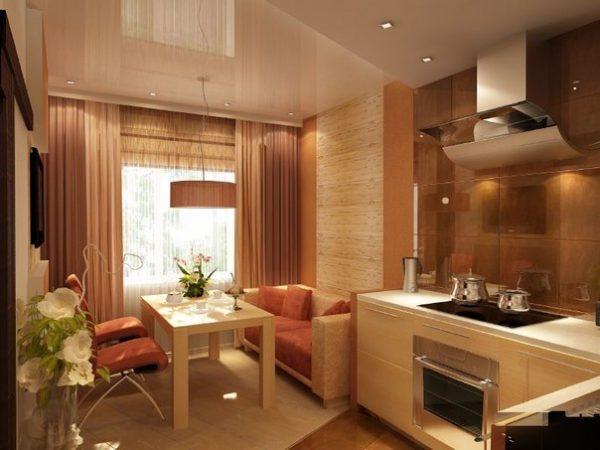 теплое сочетание тонов дивана для кухни