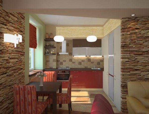 Гостиная совмещенная с кухней в хрущевке