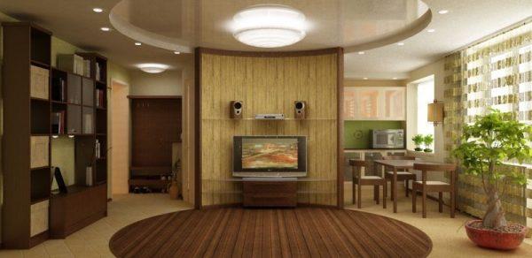 совмещение создало просторную и светлую гостиную