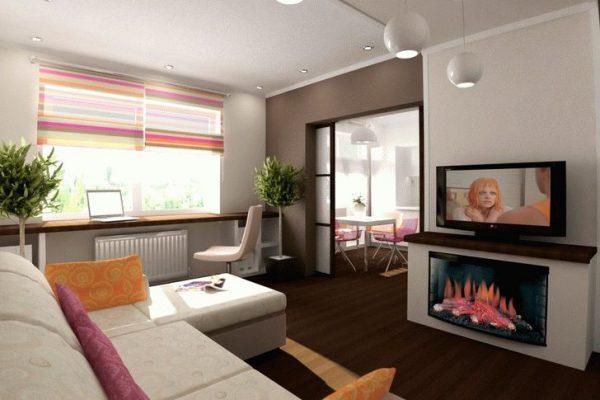 светлая гостинная переходит на кухню через контрастный вход