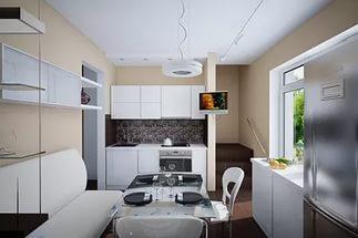 цвет дивана полностью гармонирует с гарнитуром кухни