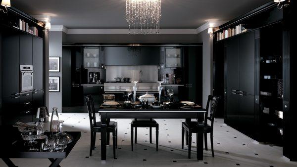 черно-белый пол огромной кухни