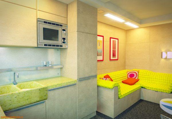 выделяющийся лимонный цвет обивки дивана