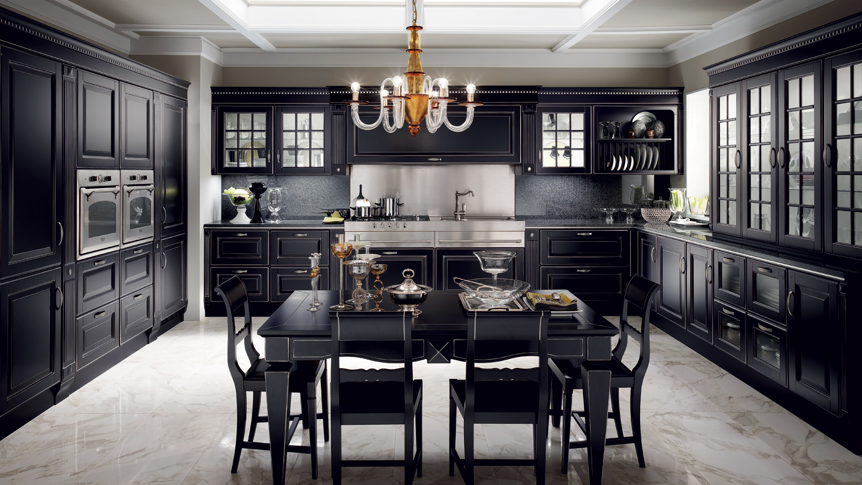 Дизайн черной классической кухни