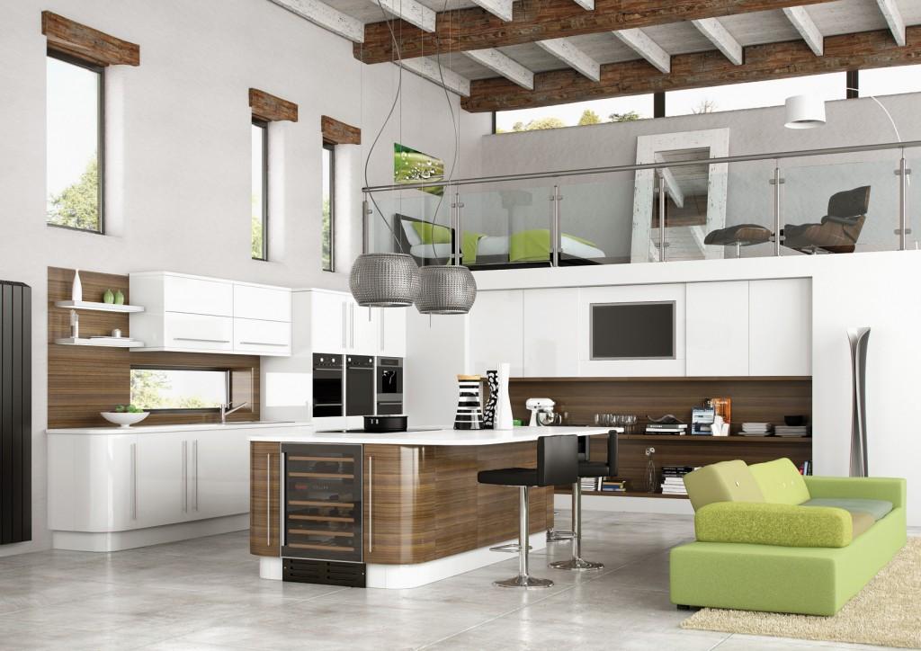 Зелёный в интерьере коричневой кухни