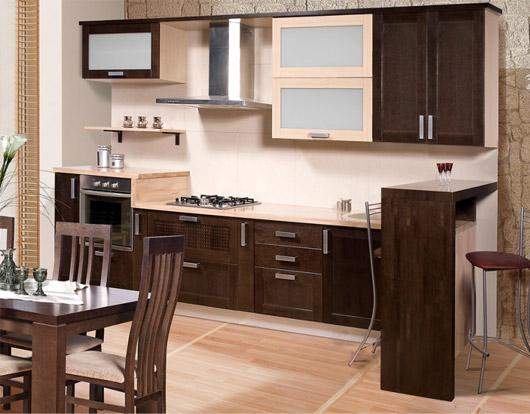 Уютная коричневая кухня