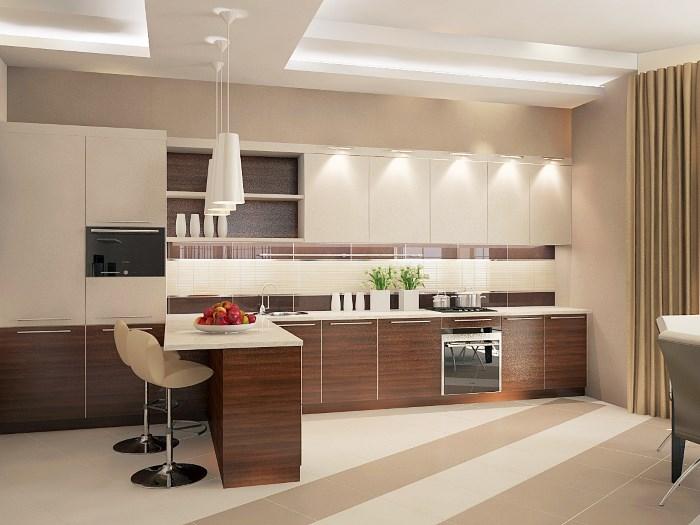 Бежевый на коричневой кухне