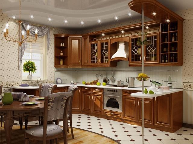 освещение на коричневой кухне