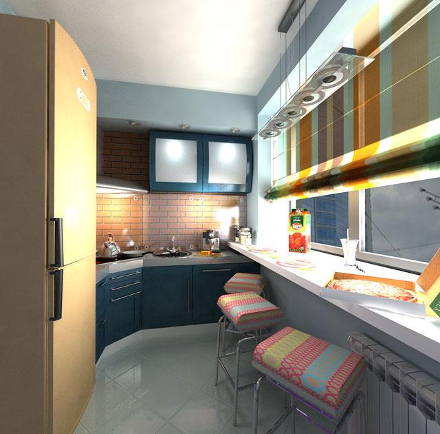Кухонная мебель на совмещённом балконе