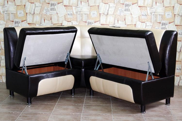 Мягкий угловой кухонный диван с откидными сиденьями