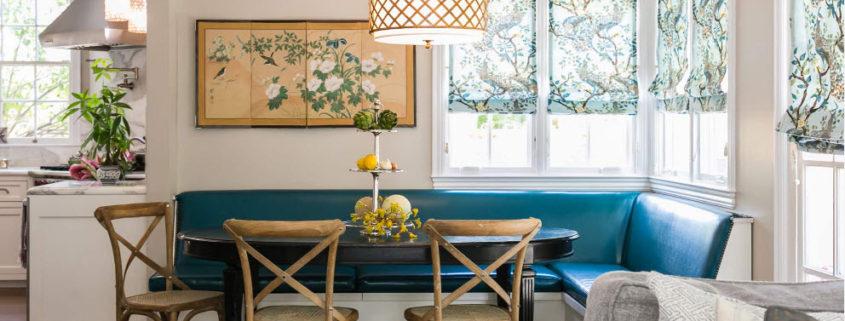 Кухонный уголок бирюзового цвета