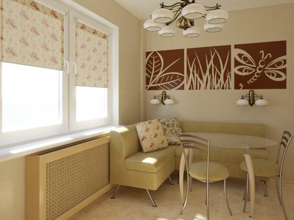 угловой диван отлично прекрасно гармонирует с цветом стен