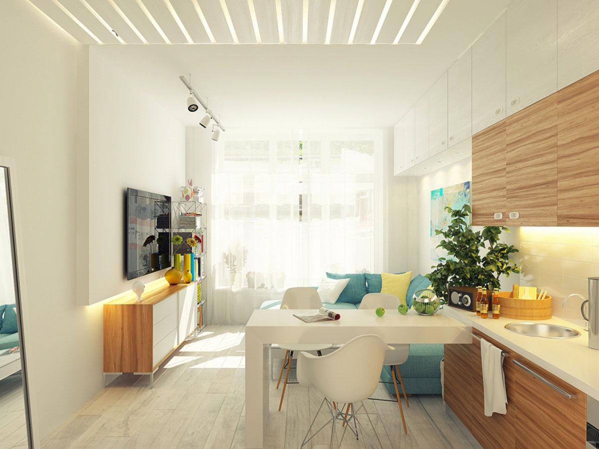 Дизайн кухни 17 кв.м диваном