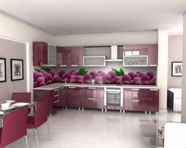 Фиолетовая кухня с мебелью