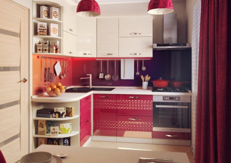Угловая кухня с фигурным фасадом