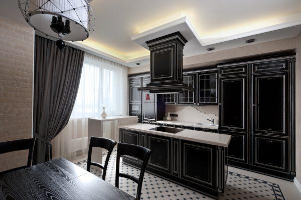 современный черный дизайн кухни