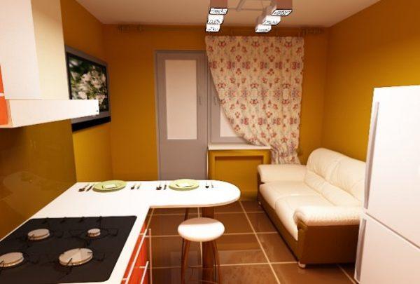 прямой спальный диван для маленькой кухни