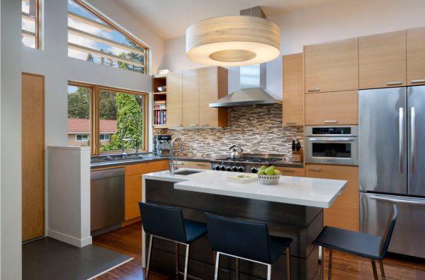 Дизайн для кухни 2017 года со встроенной техникой