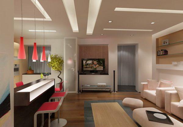 Зонирование разными цветами мебели