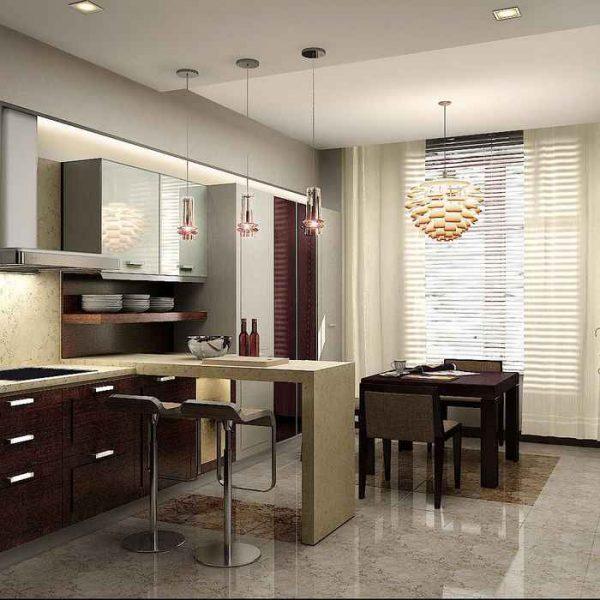 зонирование столом на кухне-гостиной