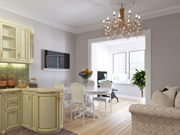 зонирование цветом мебели на кухне-гостиной