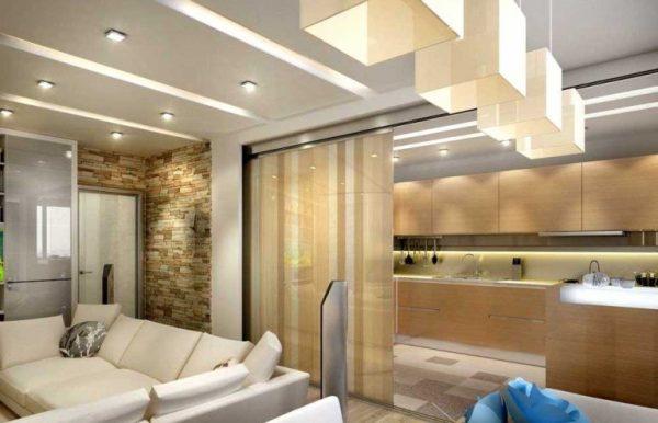 зонирование шторой на кухне-гостиной