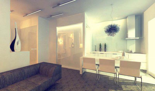 зонирование диваном другого цвета на кухне-гостиной