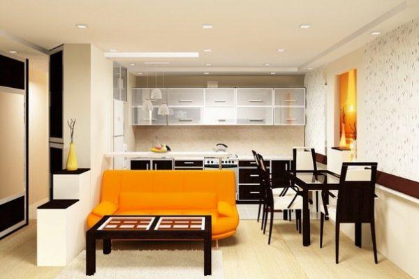 зонирование диваном на кухне-гостиной