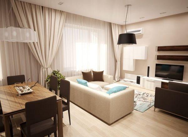 зонирование мебелью в кухне-гостиной