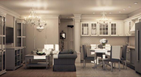 зонирование диваном в кухне-гостиной