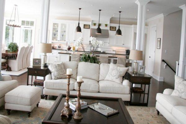 зонирование высоким столом в кухне-гостиной