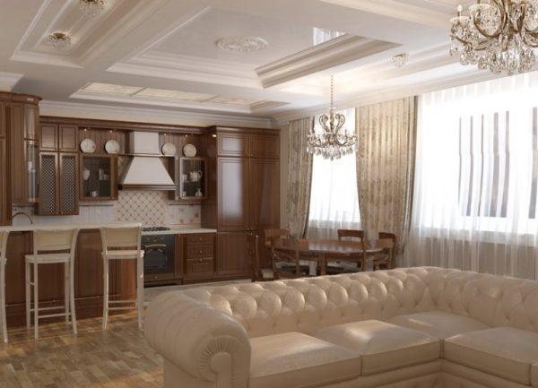 зонирование угловым диваном на кухне-гостиной