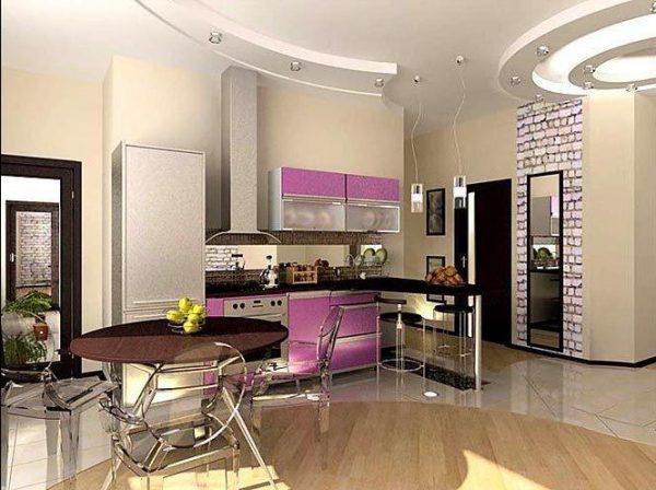 зонирование полом на кухне-гостиной