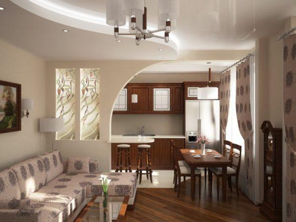 зонирование перегородкой на кухне-гостиной