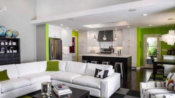 Дизайн кухни, совмещённой с гостинной
