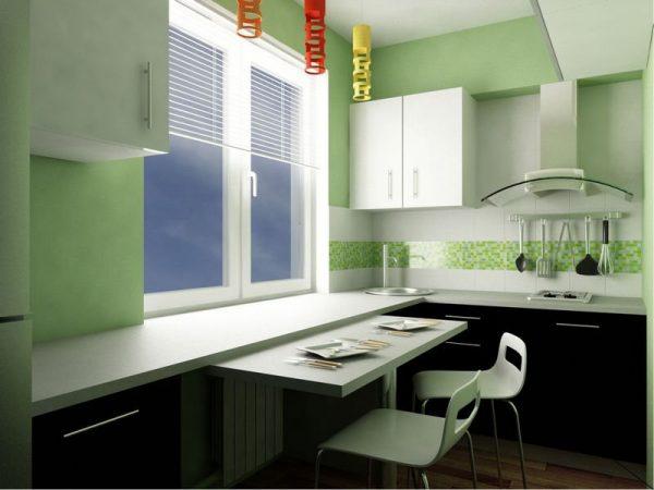 Расстановка мебели на П-образной кухни 6 кв.м