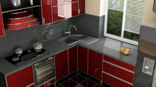 Дизайн кухни 6 кв м в хрущевке с глянцевыми фасадами