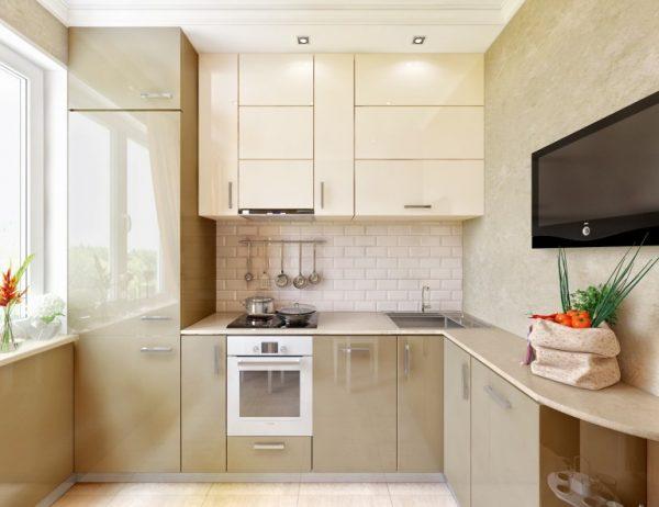 Дизайн бежевой кухни 6 кв м в хрущевке