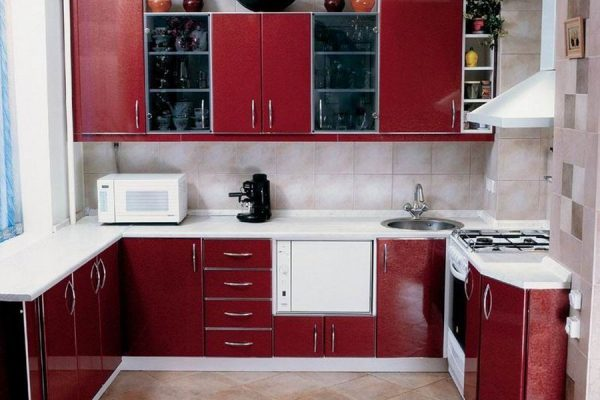 Дизайн вишнёвой кухни 6 кв м в хрущевке