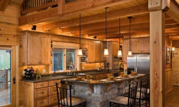 Кухня с каменной отделкой стола