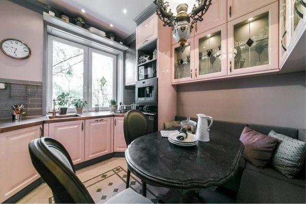 персиковый в интерьере кухни