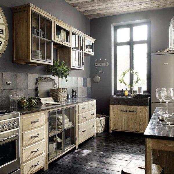 серый цвет на кухне в стиле кантри