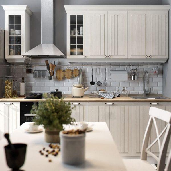 бежевый и серый на кухне в стиле кантри