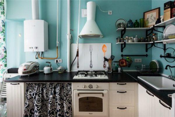 голубой цвет на кухне в стиле кантри