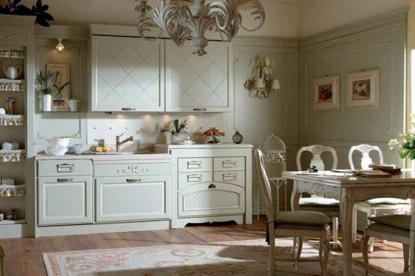 белый на кухне в стиле кантри