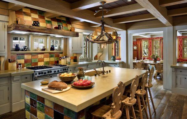Швейцарское шале в интерьере кухни