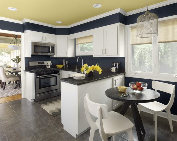 Сочетание разных цветов на кухне